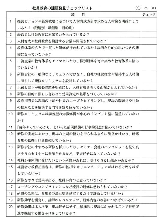 社員教育・研修チェックリスト
